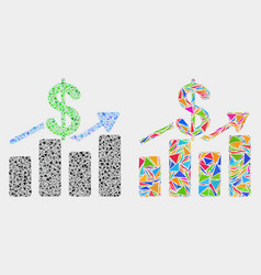 Dollar trends mosaic icon triangles vector