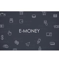 E-Money Thin Line Icons vector