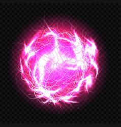 Electric ball lightning circle strike impact vector