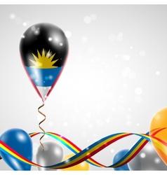 Flag of Antigua and Barbuda on balloon vector image