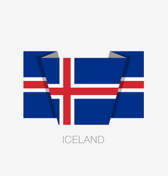 Flag of iceland flat icon waving flag with vector