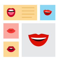 Flat icon mouth set of teeth laugh tongue and vector