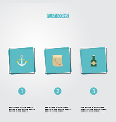 flat icons bottle armature treasure map and vector image
