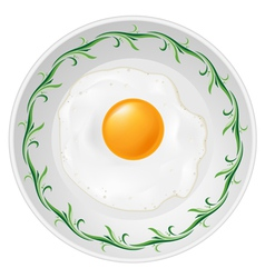 fried egg on plate on white background vector image