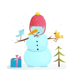 Funny snowman with birds present and small tree vector