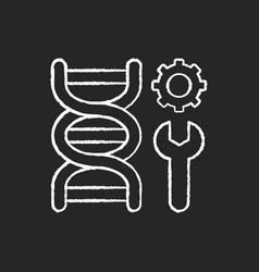 genetic engineering chalk white icon on black vector image