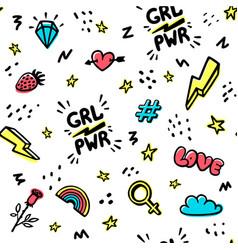 Girl power movement seamless pattern feminist vector