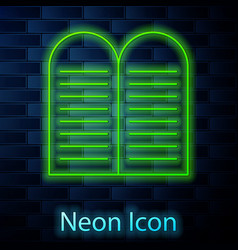Glowing neon line the commandments icon isolated vector