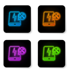 glowing neon power bank with screwdriver and vector image