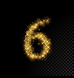 Gold glittering number six 6 on black background vector