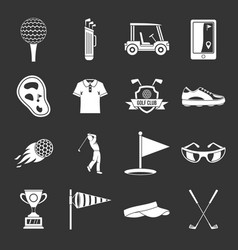golf items icons set grey vector image
