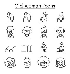 grandmother grandma old woman icon set in thin vector image