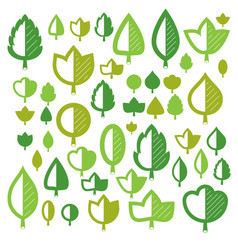 green tree leaves isolated on white background vector image