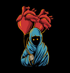 grim reaper holding heart balloon hand drawn style vector image