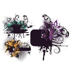grunge floral frames set vector image