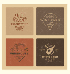 grunge wine logos vintage hipster wine vector image