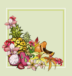 Hand drawn exotic summer background with fruit vector