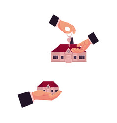 hand gives the key of house to another hand vector image