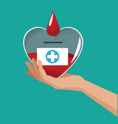 hand holding heart donate blood vector image