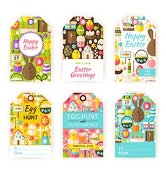 Happy Easter Gift Tag Template Flat Set vector