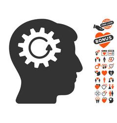 Head gear rotation icon with love bonus vector