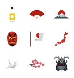 Holiday in Japan icons set flat style vector
