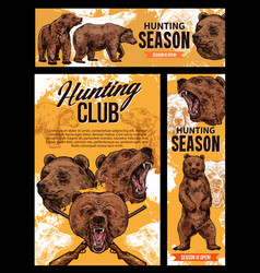 Hunting season wild bear animal vector