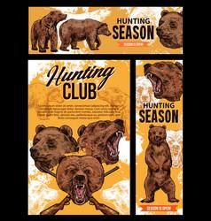 hunting season wild bear animal vector image