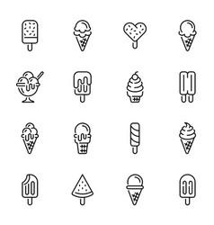 ice cream thin line icons set vector image
