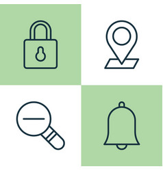 Icons set collection bell safeguard pinpoint vector