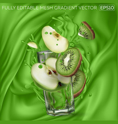 Kiwi and apple slices transparent glass green vector