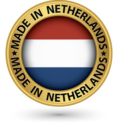 made in netherlands gold label vector image