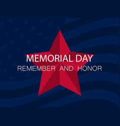 memorial day remember and honor red five-pointed vector image