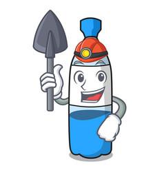 Miner water bottle mascot cartoon vector