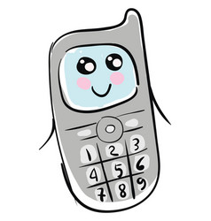 mobile phone with face character and drawn design vector image