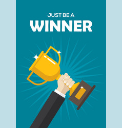 motivational poster with a golden winner cup vector image