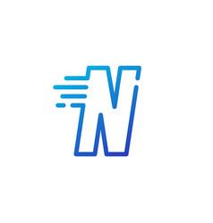 N letter dash fast quick digital mark line vector