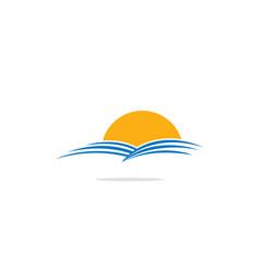 nature landscape sun logo vector image