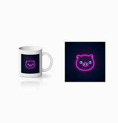 Neon sign cute pig in kawaii style print for vector