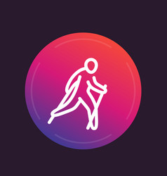 nordic walking line icon vector image