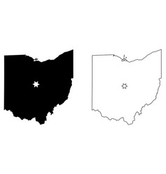 ohio oh state map usa with capital city star vector image