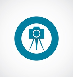 Photo camera tripod icon bold blue circle border vector
