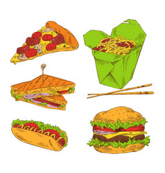 pizza hot dog sandwich noodle and big hamburger vector image