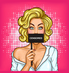 Pop art blond girl covering her mouth with a sign vector