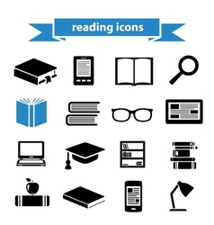 Reading icons vector