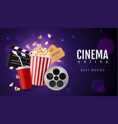 realistic popcorn cinema movie watching concept vector image