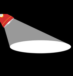 red flashlight with white rays vector image