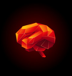 red low poly human brain on a black background vector image