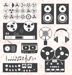 Retro Music Recording Equipment Object vector image