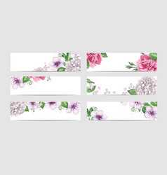 Rose floral banner template in watercolor style vector